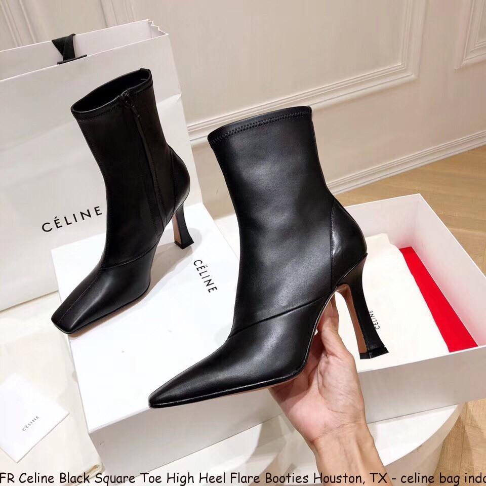 FR Celine Black Square Toe High Heel