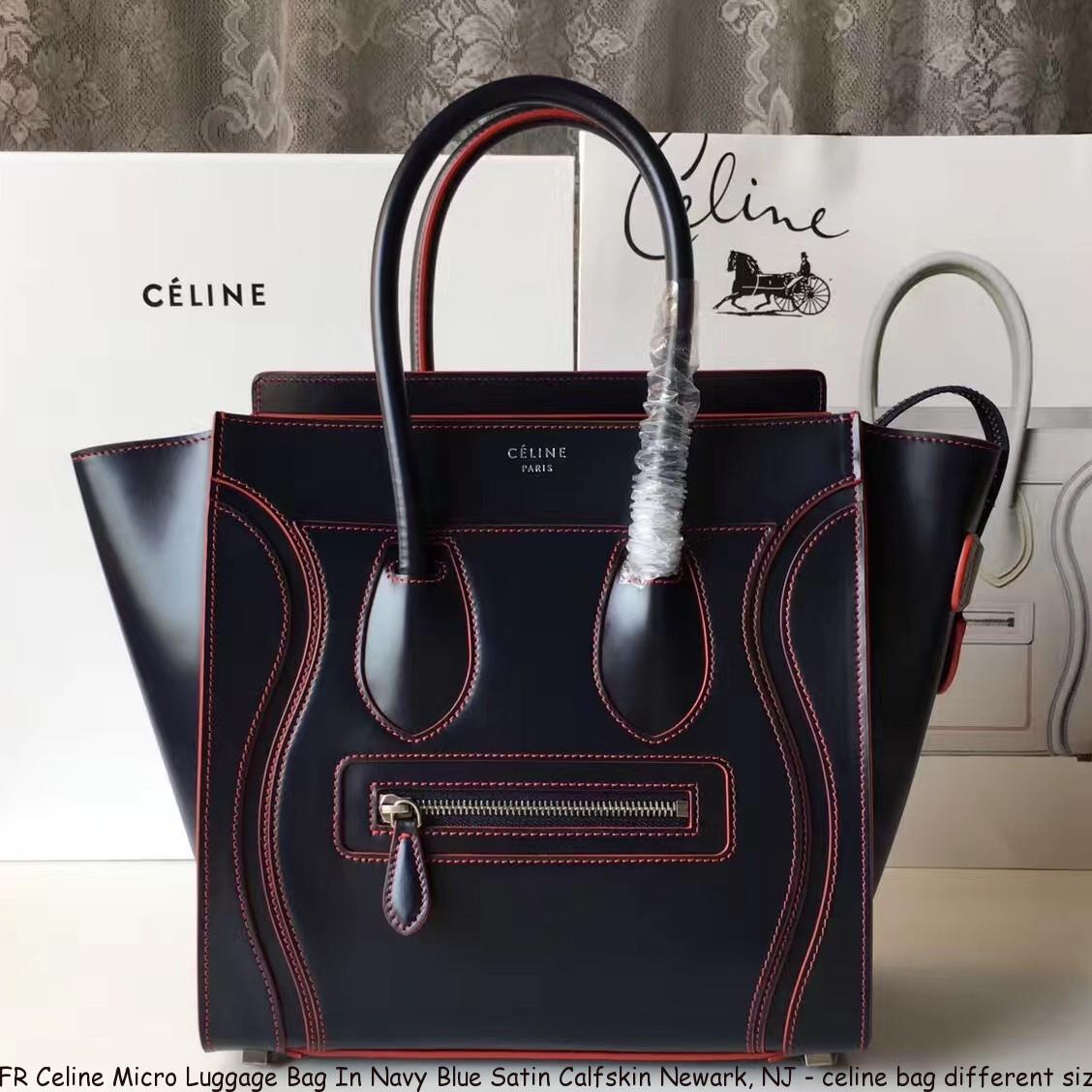 FR Celine Micro Luggage Bag In Navy Blue Satin Calfskin Newark bf441d1efd78f