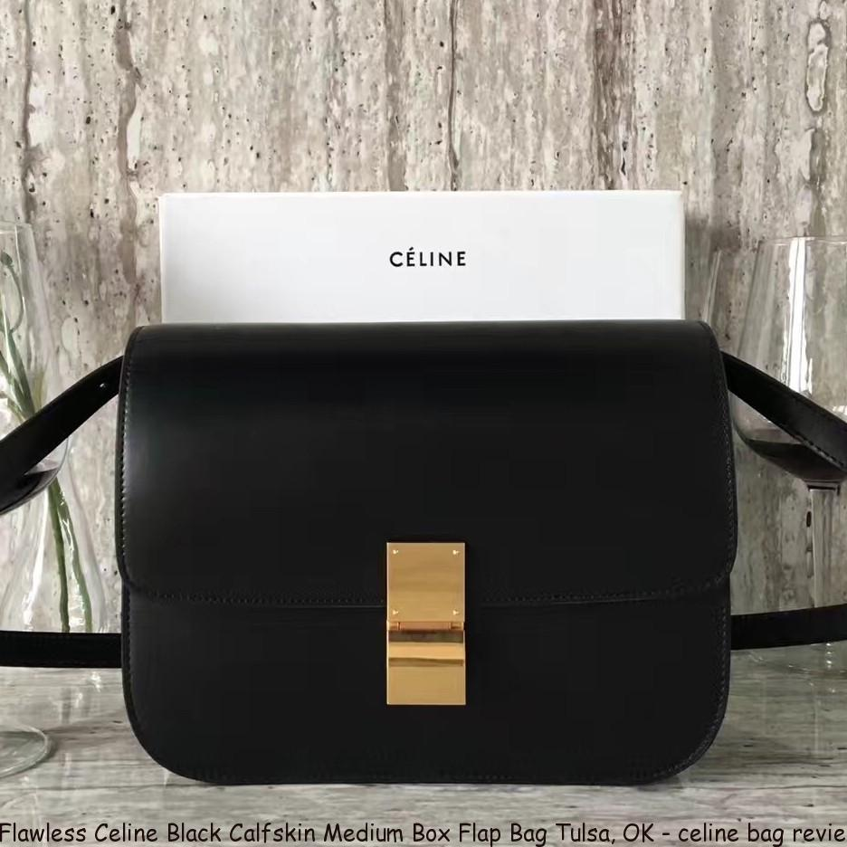 Flawless Celine Black Calfskin Medium Box Flap Bag Tulsa a5915082ae3f9