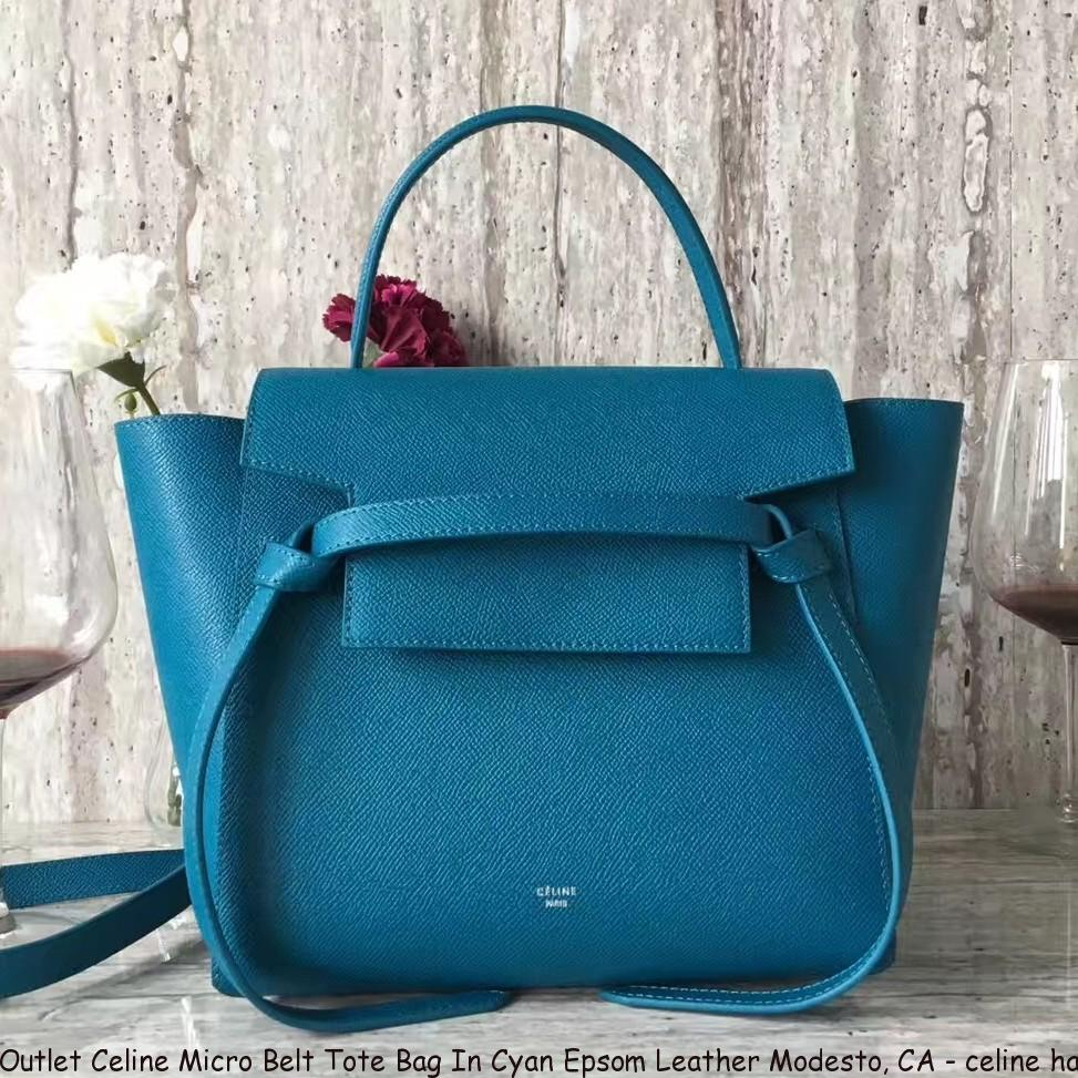 Outlet Celine Micro Belt Tote Bag In Cyan Epsom Leather Modesto f72e81900477e