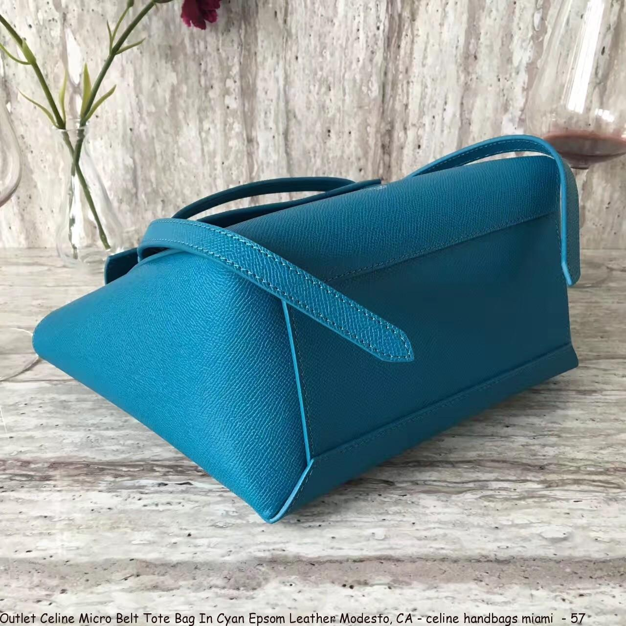 2b5a422a37 Outlet Celine Micro Belt Tote Bag In Cyan Epsom Leather Modesto