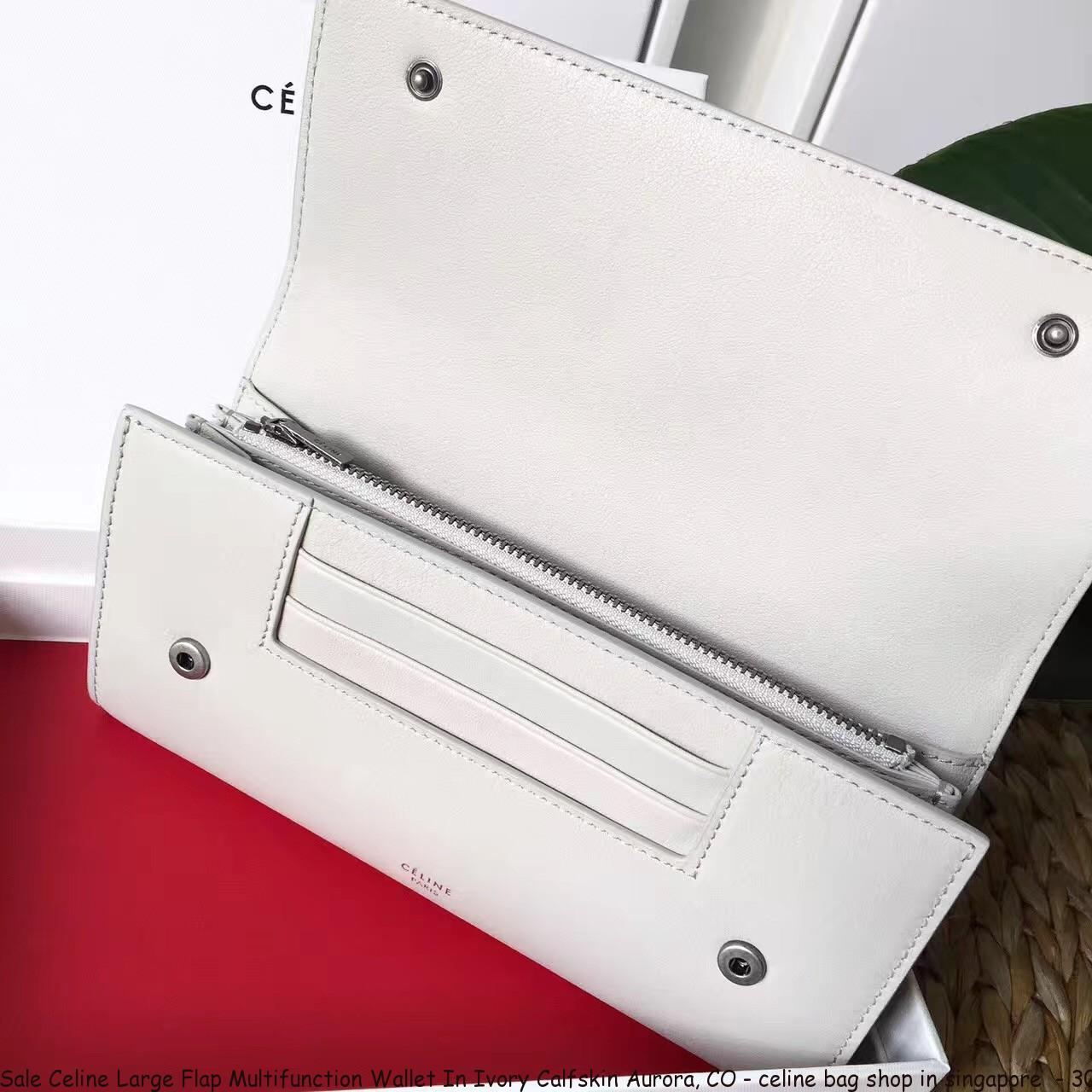 Sale Celine Large Flap Multifunction Wallet In Ivory Calfskin Aurora ... 11538c66c3b23