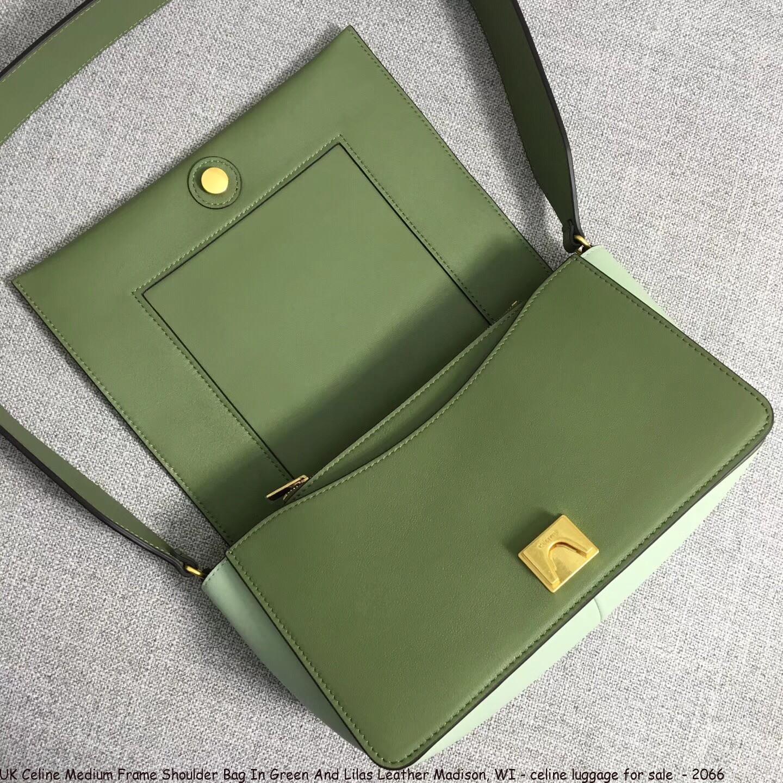 0a90dfdb9285 UK Celine Medium Frame Shoulder Bag In Green And Lilas Leather ...